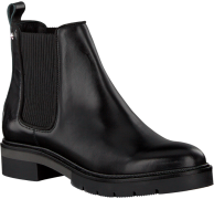 Zwarte Tommy Hilfiger Chelsea boots METALLIC LEATHER CHELSEA BOOT